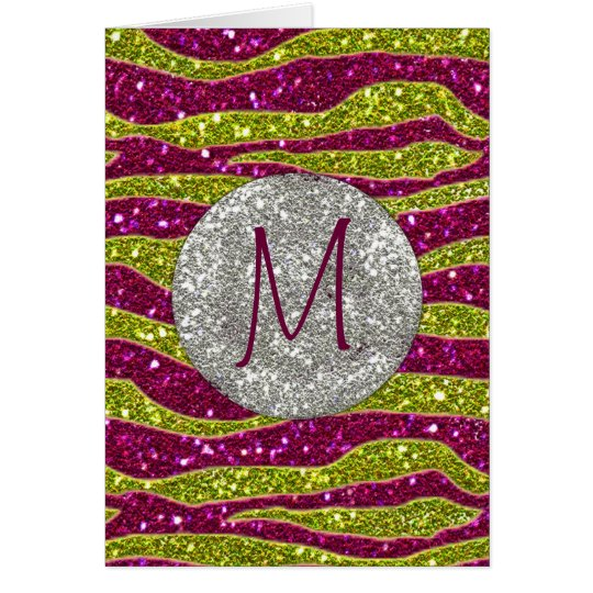 Monogram Glitters Yellow Pink Zebra Stripes Card