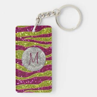 Monogram Glitters Yellow Pink Zebra Stripes Double-Sided Rectangular Acrylic Key Ring