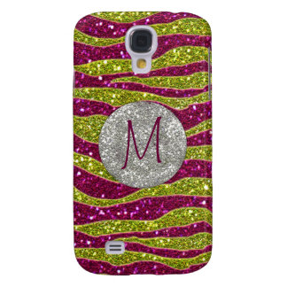 Monogram Glitters Yellow Pink Zebra Stripes Samsung Galaxy S4 Cover