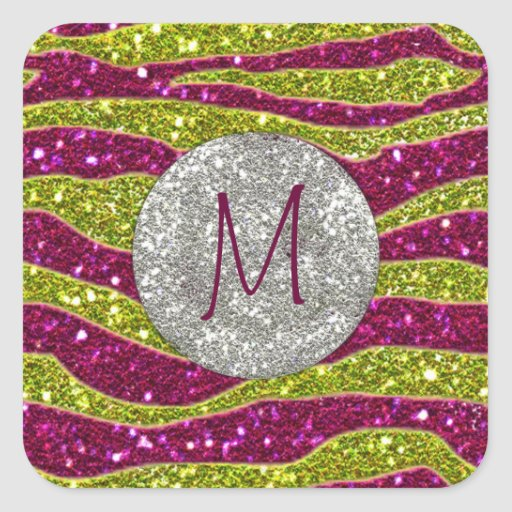 Monogram Glitters Yellow Pink Zebra Stripes Square Sticker