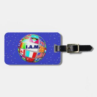 Monogram Globe World Flags Map, Earth Luggage Tag