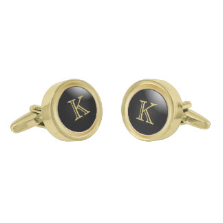 Monogram Gold and Classy Black Gold Finish Cuff Links