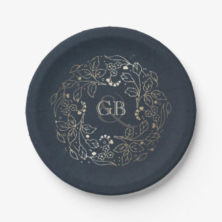 Monogram Gold and Navy Vintage Floral Wedding 7 Inch Paper Plate