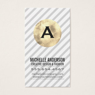 Monogram / Gold and Stripes Business Card
