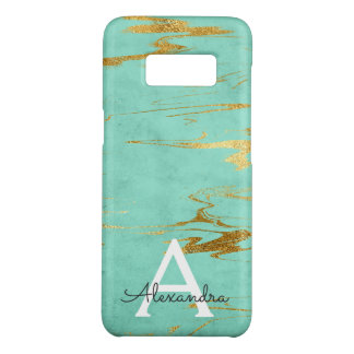 Monogram Gold and Teal Marble with Gold Foil Case-Mate Samsung Galaxy S8 Case