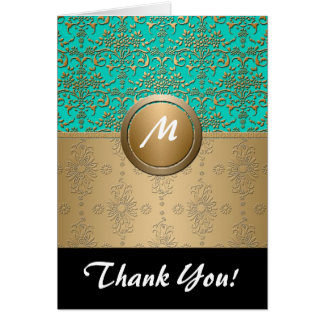 Monogram Gold and Turquoise Green Damask Card