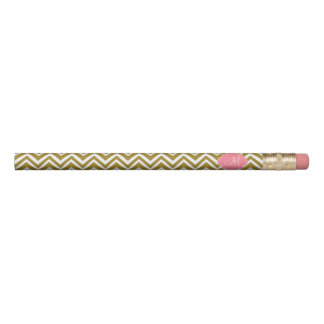 Monogram Gold and White Chevron Pattern with Pink Pencil