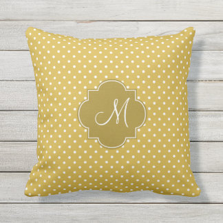 Monogram Gold and White Polka Dot Pattern Outdoor Cushion