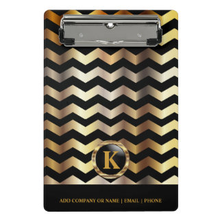 Monogram Gold & Black Chevron Stripes Mini Clipboard