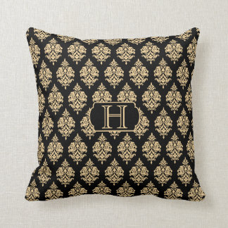 Monogram,Gold,Black,Damask Pattern Throw Pillow