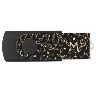 Monogram Gold Black Music Notes Pattern USB Drive