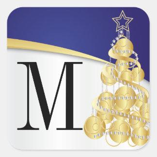 Monogram Gold & Blue Merry Christmas Square Sticker
