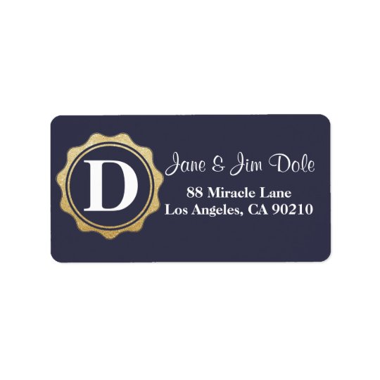 Monogram Gold Circle Return Address Label Navy 09