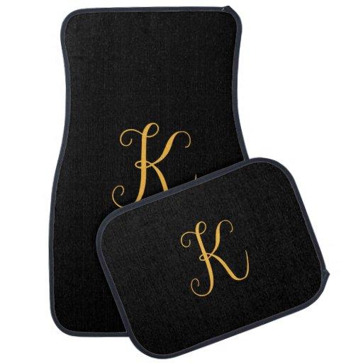 "Monogram gold-colored ""K"" on black Car Mat"