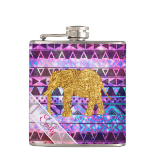 Monogram Gold Elephant Pink Nebula Space Aztec Hip Flask