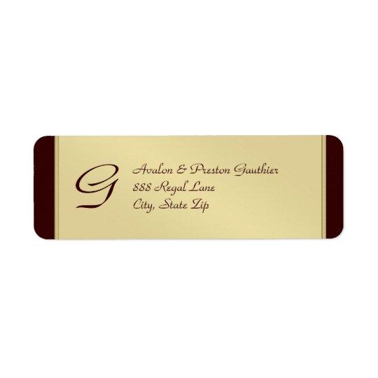 Monogram Gold Faux Metal Brown  Address Label