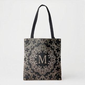 Monogram Gold Filigree Motif Tote Bag