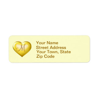 Monogram gold glass heart return address label