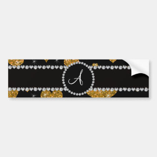 Monogram gold glitter hearts black diamond circle bumper sticker