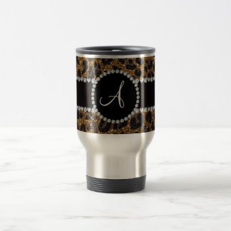 Monogram gold glitter leopard stainless steel travel mug