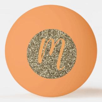 Monogram Gold Glitter Look Ping Pong Ball Elegant