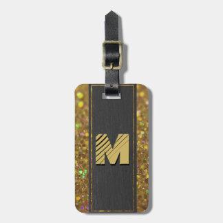 Monogram Gold Glitter Luggage Tag