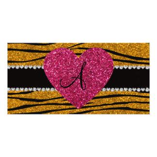Monogram gold glitter zebra stripes heart customised photo card