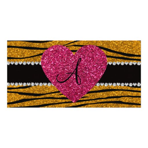 Monogram gold glitter zebra stripes heart photo card