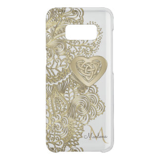 Monogram Gold Lace and Celtic Heart Get Uncommon Samsung Galaxy S8 Case
