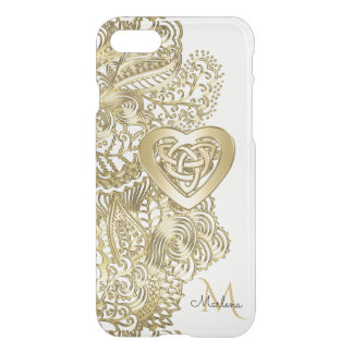 Monogram Gold Lace and Celtic Heart iPhone 7 Case