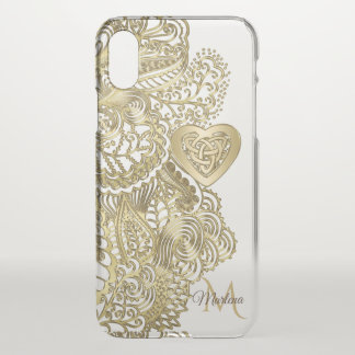 Monogram Gold Lace and Celtic Heart iPhone X Case