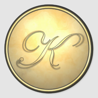 monogram_gold round sticker