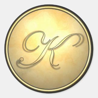 monogram_gold round sticker