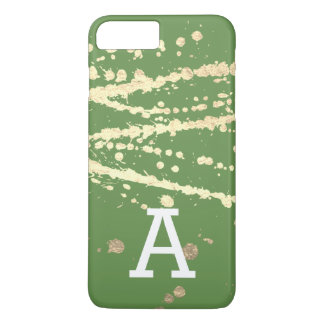 Monogram Gold Splatter GREEN iPhone 7 Plus Case