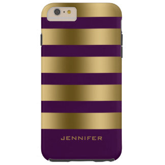 Monogram Gold Stripes Over Black Background Tough iPhone 6 Plus Case
