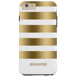 Monogram Gold Stripes Over White Background Tough iPhone 6 Plus Case