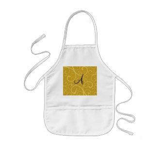 Monogram gold swirls aprons