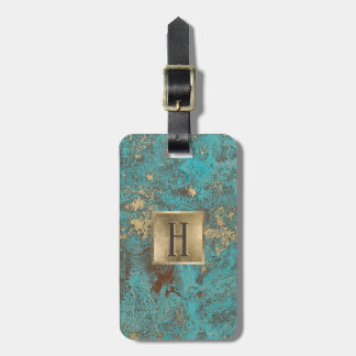 Monogram Gold Turquoise & Teal Luggage Tag