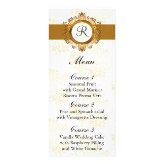 monogram gold wedding menu rack card design