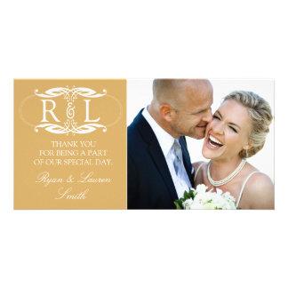 Monogram Gold Wedding Photo Thank You Cards Custom Photo Card