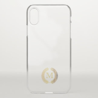 Monogram. Gold Wheat Laurel. iPhone X Case