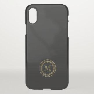 Monogram. Gold Wheat Laurel. iPhone X Case