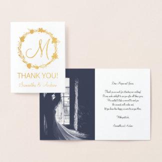 Monogram gold wreath thank you photo wedding foil card