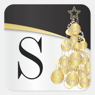 Monogram Golden Black Merry Christmas Square Sticker