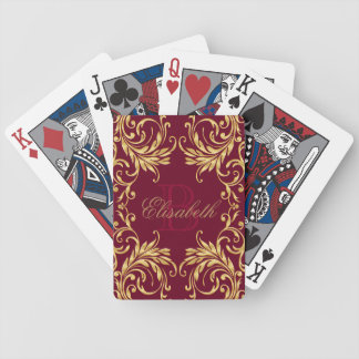 Monogram Golden Damask on Dark Red Bicycle Playing Cards