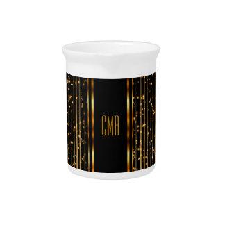 Monogram Golden Light Shower on Black Beverage Pitchers