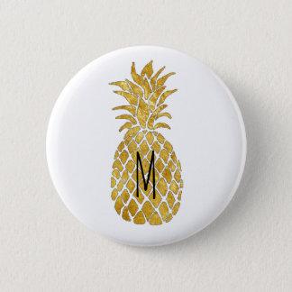 monogram golden pineapple 6 cm round badge