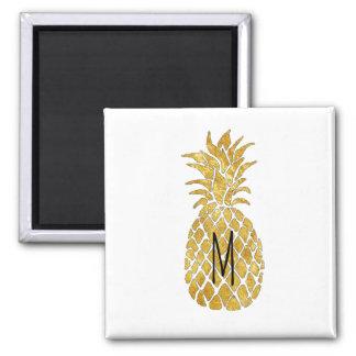 monogram golden pineapple magnet