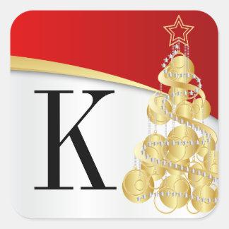 Monogram Golden Red Merry Christmas Square Sticker