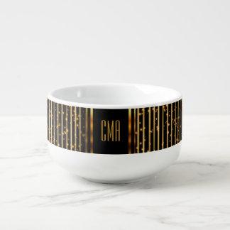 Monogram Golden Star Lights on Black Soup Mug